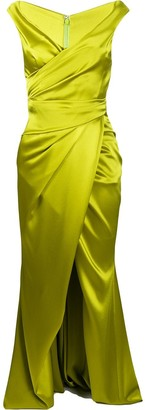 Talbot Runhof Wrap-Style Ruched Gown