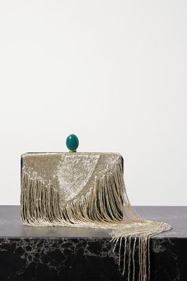 Oscar de la Renta Embellished Silk-satin Clutch - Gold