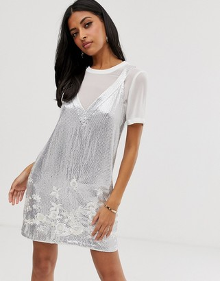 French Connection Ello embellished dress with t-shirt underlayer-Silver
