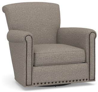 Pottery Barn Irving Roll Arm Upholstered Swivel Armchair with Nailheads