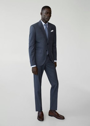 MANGO MAN - Slim fit virgin wool suit pants prussian blue - 28 - Men