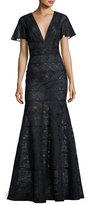 J. Mendel Flutter-Sleeve Paneled Lace Gown, Blue