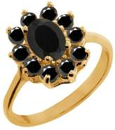 Gem Stone King 1.01 Ct Oval Onyx Diamond Yellow Gold Plated Sterling Silver Ring