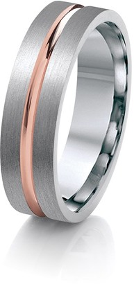 Theia Titanium with Rose Gold Colour Inlay Centre Groove Flat Court Shape 6mm Ring - Size R