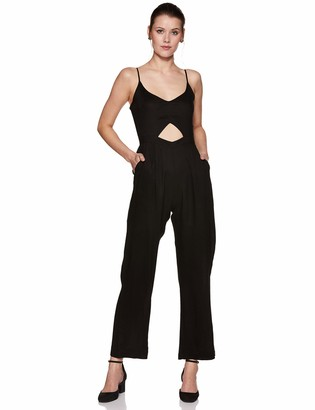 Oasis Wild Beachwear Women's V Neck Spaghetti Strap Cut Out Solid Jumpsuit Romper (X-Small