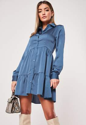 Missguided Blue Satin Button Front Smock Shirt Dress