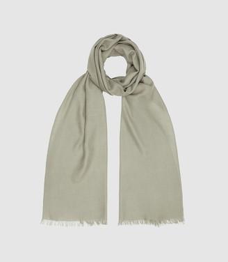 Reiss Iris - Wool Silk Blend Lightweight Scarf in Pale Green
