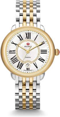 Michele 36mm Serein Mid Steel/Gold Diamond-Dial Watch