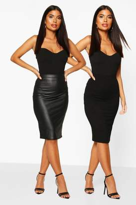 boohoo Petite 2 Pack Leather Look and Jersey Midi Skirt
