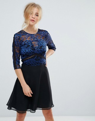 Elise Ryan Lace Skater Dress With Ladder Trim