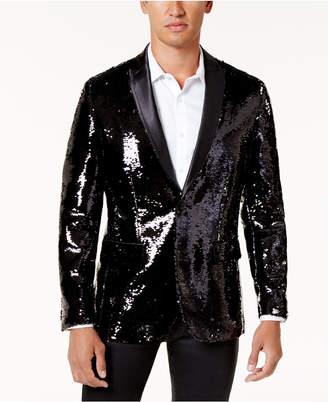 INC International Concepts Inc Men Big & Tall Slim-Fit Reversible Sequined Blazer