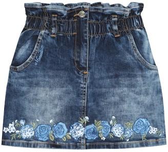 MonnaLisa Floral applique denim skirt