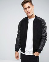 Asos Suede Bomber Jacket With Leather Sleeves In Black