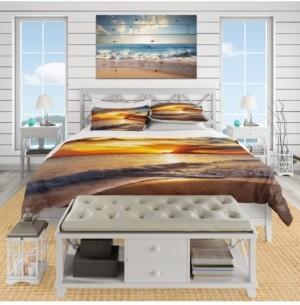 Design Art Designart 'Yellow Sunset Through Dark Clouds' Beach Duvet Cover Set - Queen Bedding