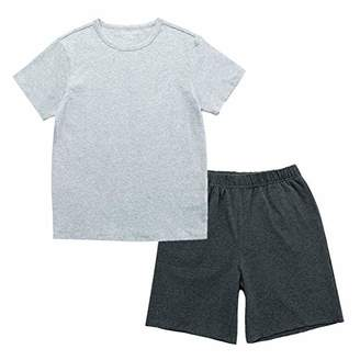 UNACOO Unisex Kids' Casual Stretch and Breathable Tee and Shorts Sleepwear Pajama Set(