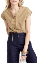 J.Crew Women's Lace-Up Popover Top