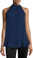 Max Studio Tie-Neck Sleeveless Blouse, Purple Blue