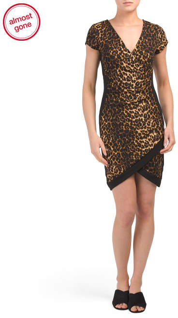 Juniors Short Leopard Wrap Dress