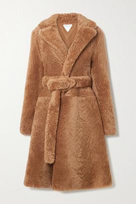 Bottega Veneta Belted Shearling Coat - Brown