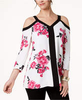 Alfani Floral-Print Cold-Shoulder Top, Created for Macy's