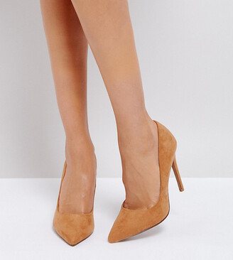 Asos Design DESIGN Wide Fit Paris pointed high heeled court shoes in caramel