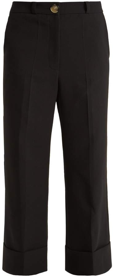 Awake Mid-rise wide-leg cropped crepe trousers