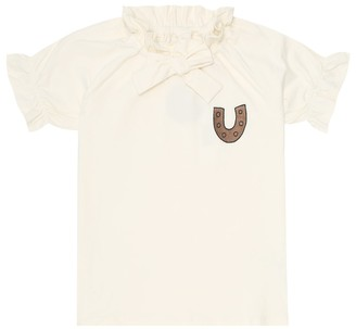 Mini Rodini Horseshoe embroidered stretch-cotton blouse