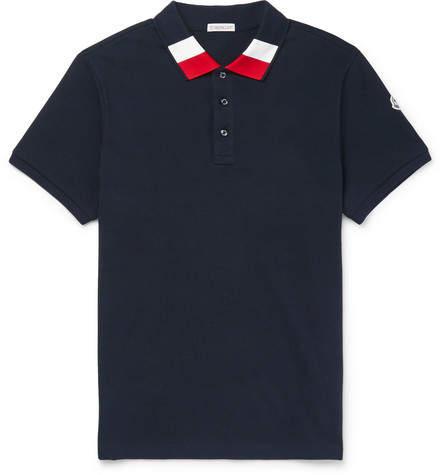 Moncler Slim-Fit Stripe-Trimmed Cotton-Piqué Polo Shirt