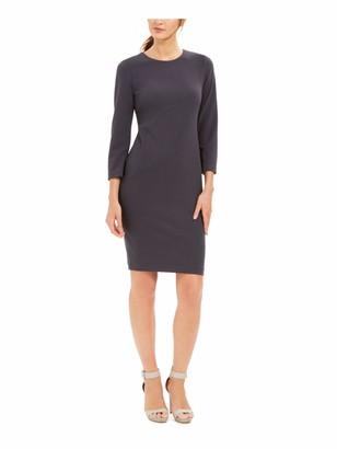 Calvin Klein Womens Gray Zippered 3/4 Sleeve Jewel Neck Above The Knee Sheath Cocktail Dress Size: 6