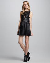 Lulu For Love & Lemons Faux-Leather/Lace Dress