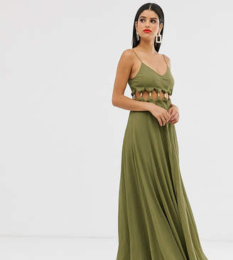 Asos Tall DESIGN Tall maxi dress with crinkle chiffon with cross neck detail-Multi