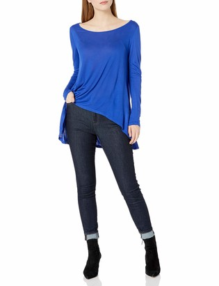 Paper + Tee Women's Scoop Neck Long Sleeve Hi Lo Knit Top