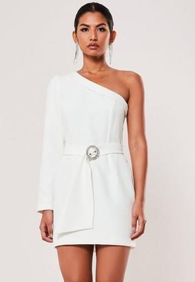 Missguided Ivory Gathered One Shoulder Belted Blazer Dress