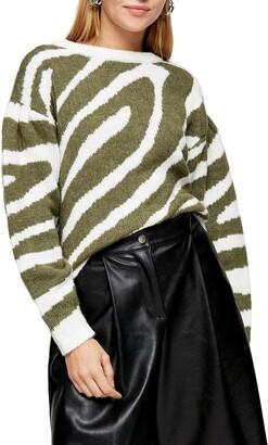 Topshop Oversize Swirl Pattern Sweater