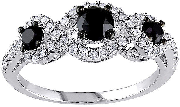 Black Diamond MODERN BRIDE Midnight 1 CT. T.W. White & Color-Enhanced 10K White Gold 3-Stone Ring
