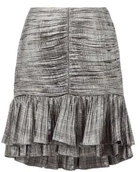 Jonathan Simkhai Ruffled Plisse-lame Mini Skirt - Silver