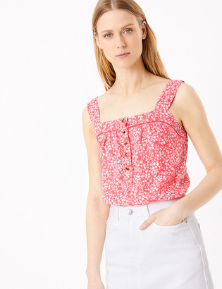 Marks and Spencer Pure Linen Floral Camisole Top