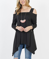 42pops 42POPS Women's Tunics BLACK - Black Shoulder-Cutout Sidetail Tunic - Women