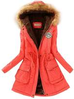 SODIAL(R) Women Hooded Fur Winter Thick Padded Long Coat Outerwear Jacket-XXL