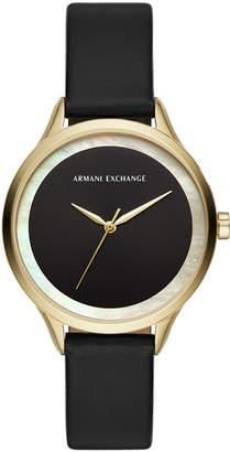 Armani Exchange Women Harper Black Leather Strap Watch 38mm