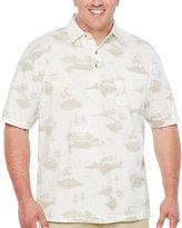 Van Heusen Short Sleeve Palm Print Polo Short Sleeve Knit Polo Shirt Big and Tall