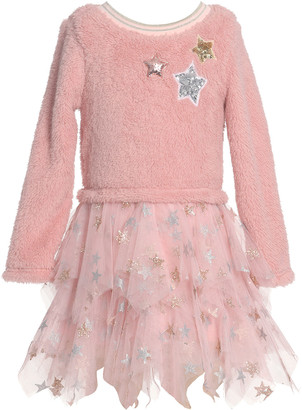 Hannah Banana Girl's Star Sherpa Tulle Dress, Size 4-6X