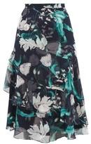 Erdem Zennia Leighton Tulip-print Flounced Silk Skirt - Womens - Navy White
