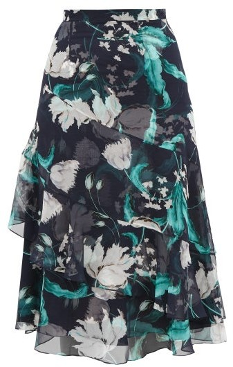 Erdem Zennia Leighton Tulip Print Flounced Silk Skirt - Womens - Navy White