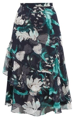 Erdem Zennia Leighton Tulip-print Flounced Silk Skirt - Womens - Navy White