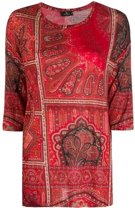 Etro 3/4 Sleeves Paisley Top