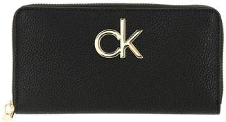 Calvin Klein Wallet Re-lock Zip Around Wallet In Synthetic Leather With Monogram