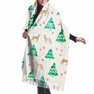 Asekngvo (Cream) Winter Deer Traditional Shawl Wrap Winter Warm Scarf Cape Large Soft Cozy Cashmere Scarf Wrap Womans Warm Shawl Stole