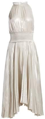 A.L.C. Weston Metallic Pleated Midi Dress