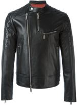 DSQUARED2 quilt sleeved leather jacket